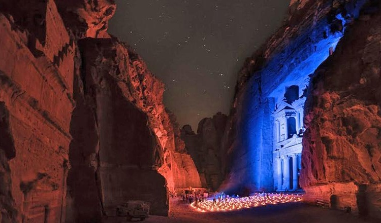 United Nations 70th anniversary, Jordan's Petra in blue, UN Day celebration in Jordan